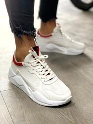 Pabucmarketi - Pabucmarketi Erkek Sneakers Ayakkabı 606 Beyaz Kırmızı