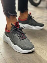 Pabucmarketi - Pabucmarketi Erkek Sneakers Ayakkabı 606 Gri Kırmızı