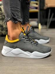 Pabucmarketi - Pabucmarketi Erkek Sneakers Ayakkabı 606 Gri Sarı