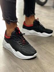 Pabucmarketi - Pabucmarketi Erkek Sneakers Ayakkabı 606 Siyah Kırmızı