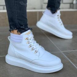 Pabucmarketi - Pabucmarketi Erkek Yüksek Taban Ayakkabı 504 Beyaz