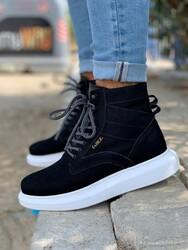 Pabucmarketi - Erkek Yüksek Taban Ayakkabı B-404 Siyah Suni Süet (Beyaz Taban)