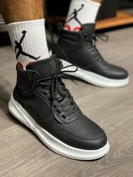 Pabucmarketi - Pabucmarketi Erkek Yüksek Taban Ayakkabı F-505 Siyah (Beyaz Taban)